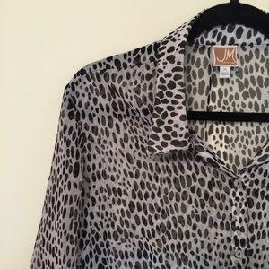 JM Collection   Sheer Blouse w/ Peplum Sleeve